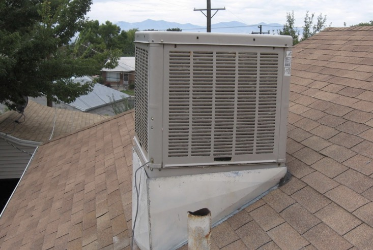 Swamp cooler , evaporative cooler, swamp cooler on roof