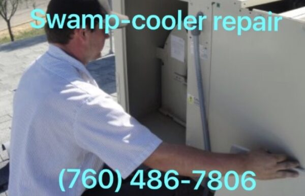 Swamp cooler being repaired